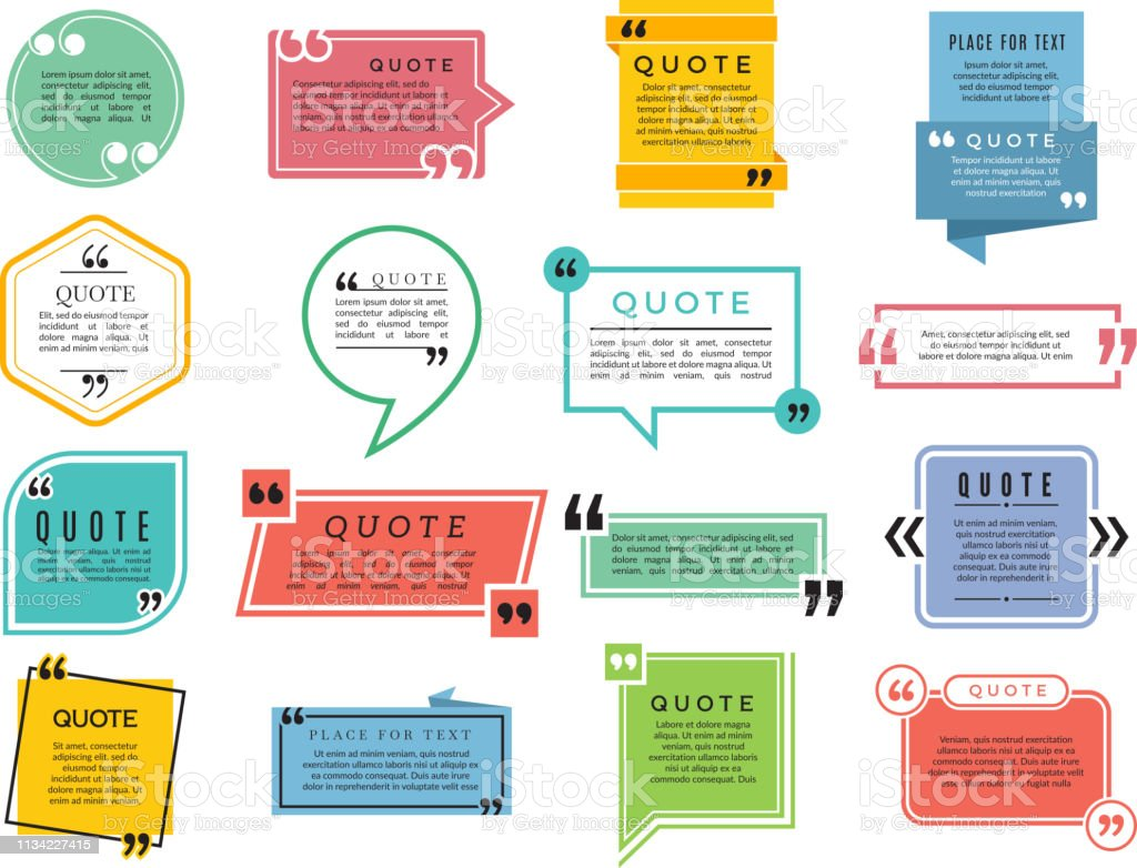 Quotes Shapes Text Boxes Remark Sentences Quotes Vector Typography