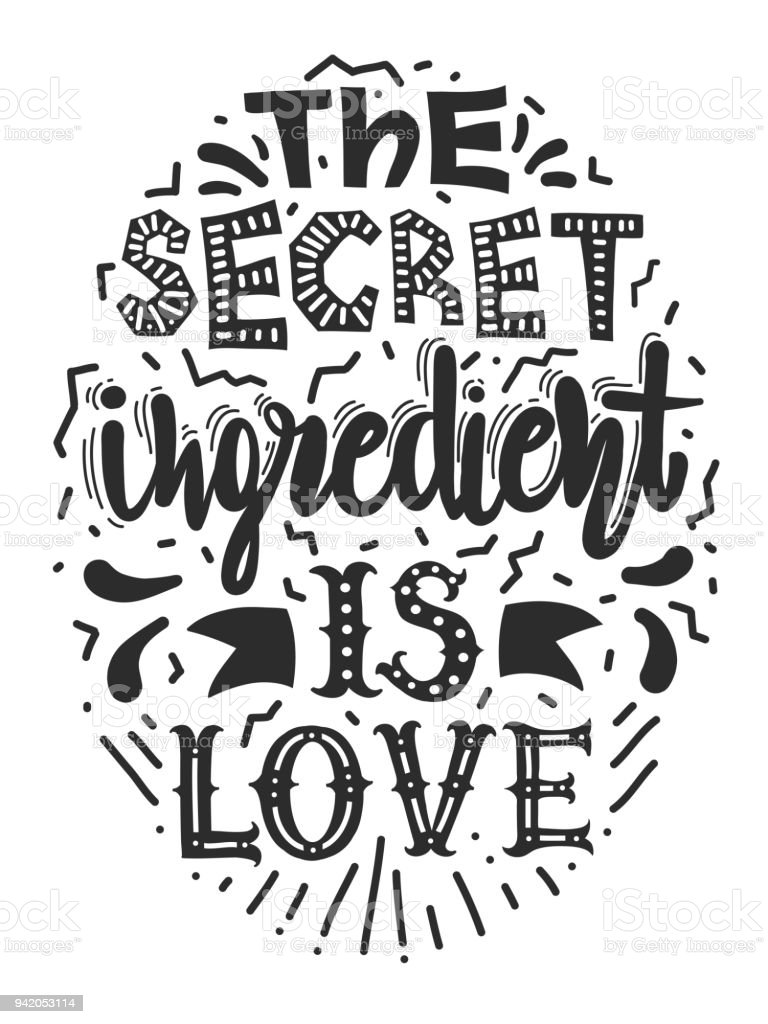 Quotes The Secret Ingredient Is Love Calligraphy Motivational Poster
