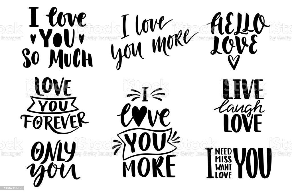 Zitiert Valentine Schriftzug Love Kollektion Handgezeichnete ...