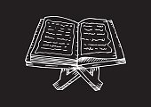 Quran on a wooden book stand. Hand drawing illustration