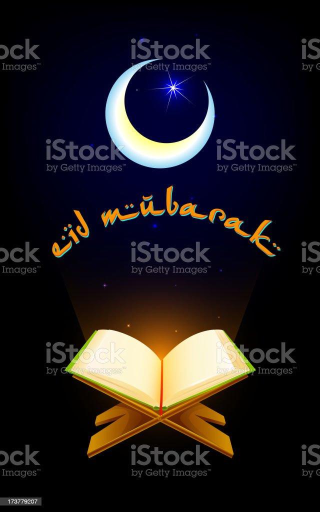 Quran on Eid Mubarak background royalty-free stock vector art