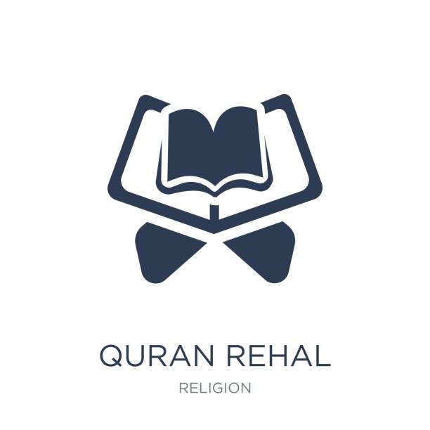 ilustrações de stock, clip art, desenhos animados e ícones de quran rehal icon. trendy flat vector quran rehal icon on white background from religion collection - cora��o