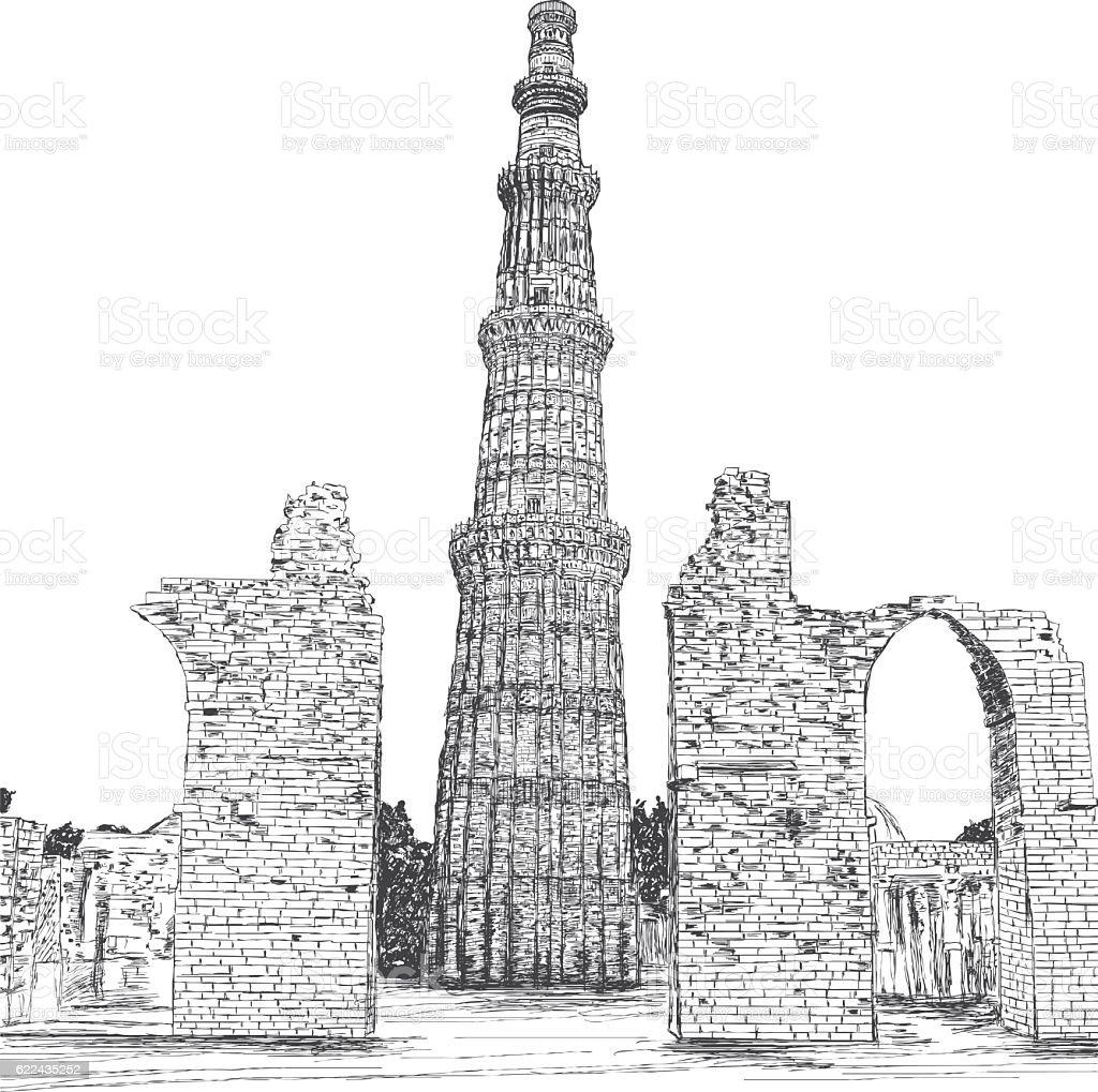 Qutub minar vector illustration new delhi india qutub minar vector illustration new delhi india