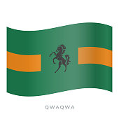 QwaQwa waving flag vector icon. Vector illustration isolated on white.