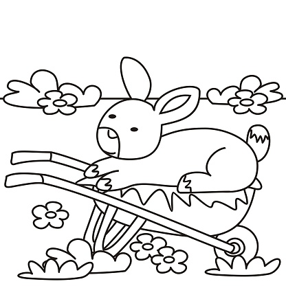 Rabbit and barrow, coloring book, eps.