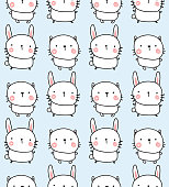 vector seamless pattern, adorable bunny and rabbit on light blue background