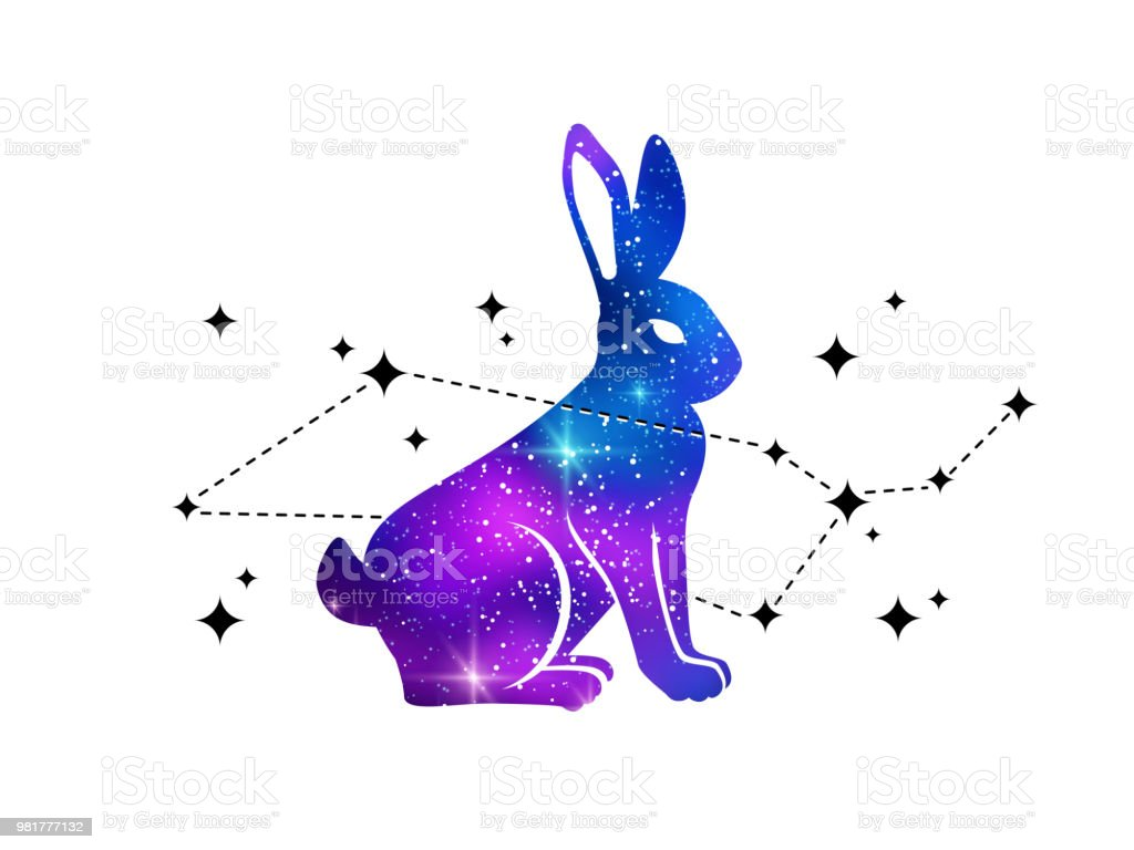 Conejo y la constelación de Cetus - ilustración de arte vectorial