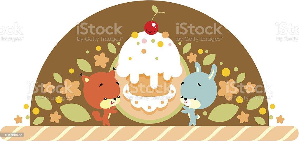 Kaninchen Und Eichhörnchen Mit Kuchen Stock Vektor Art und mehr ...