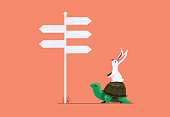 vector illustration of rabbit and tortoise finding direction