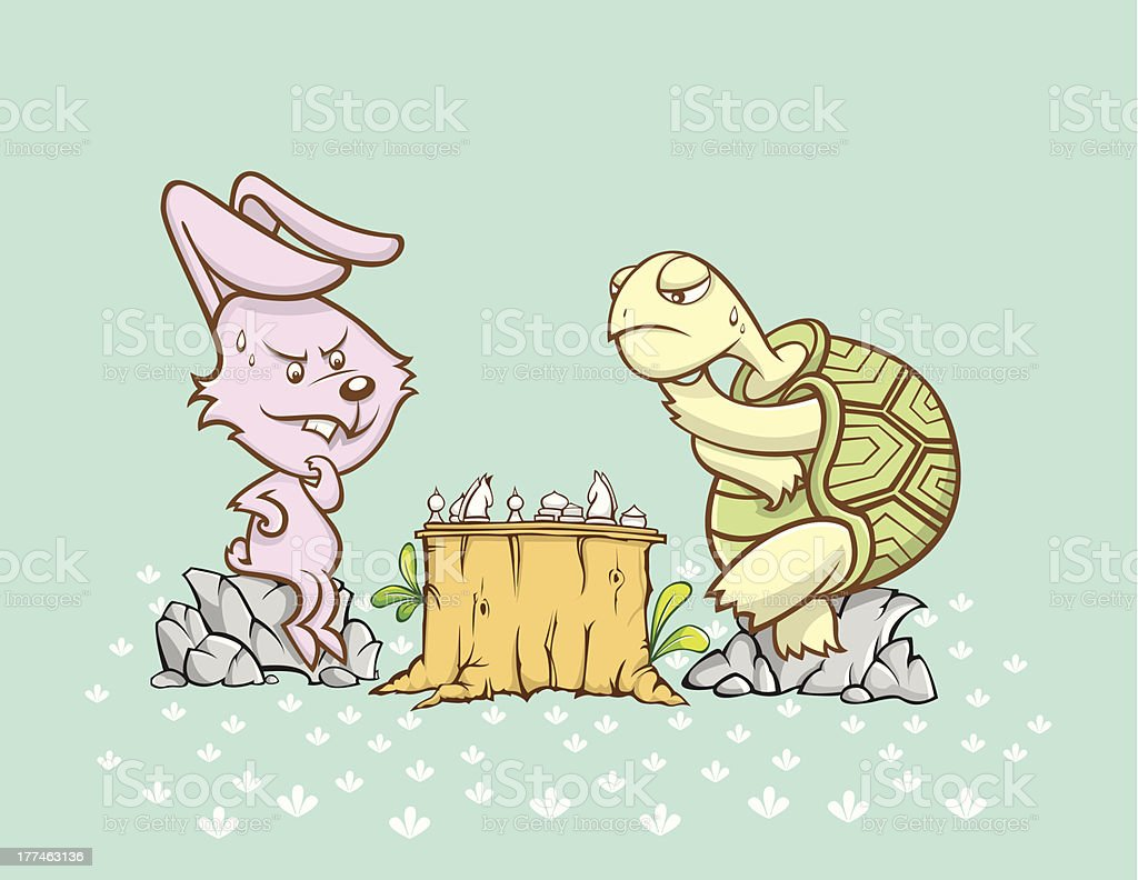rabbit and turtle are playing a chess game royalty-free stock vector art
