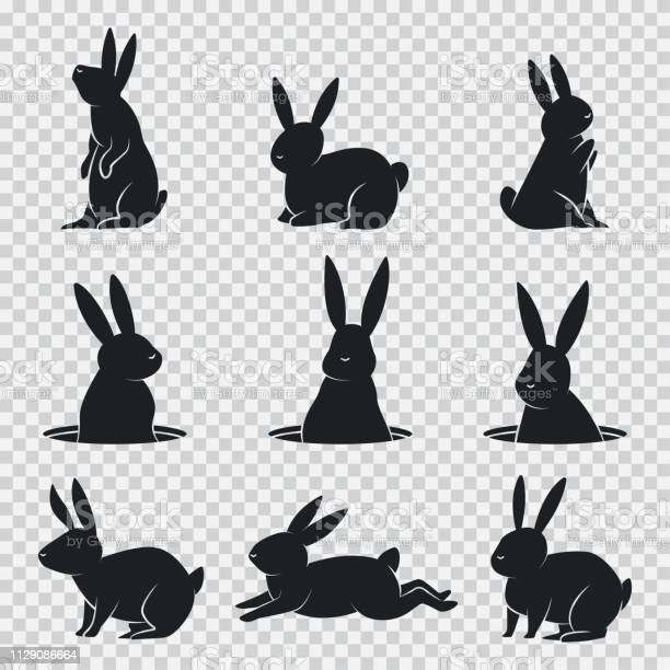 Rabbit black silhouette vector cartoon bunny set isolated on vector id1129086664?b=1&k=6&m=1129086664&s=612x612&h=44nlkcy82tyshgjrgm933nuxbtrgq6rliapeagbtemk=