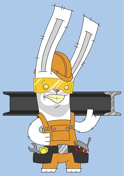 kaninchen builder - kaninchenbau stock-grafiken, -clipart, -cartoons und -symbole