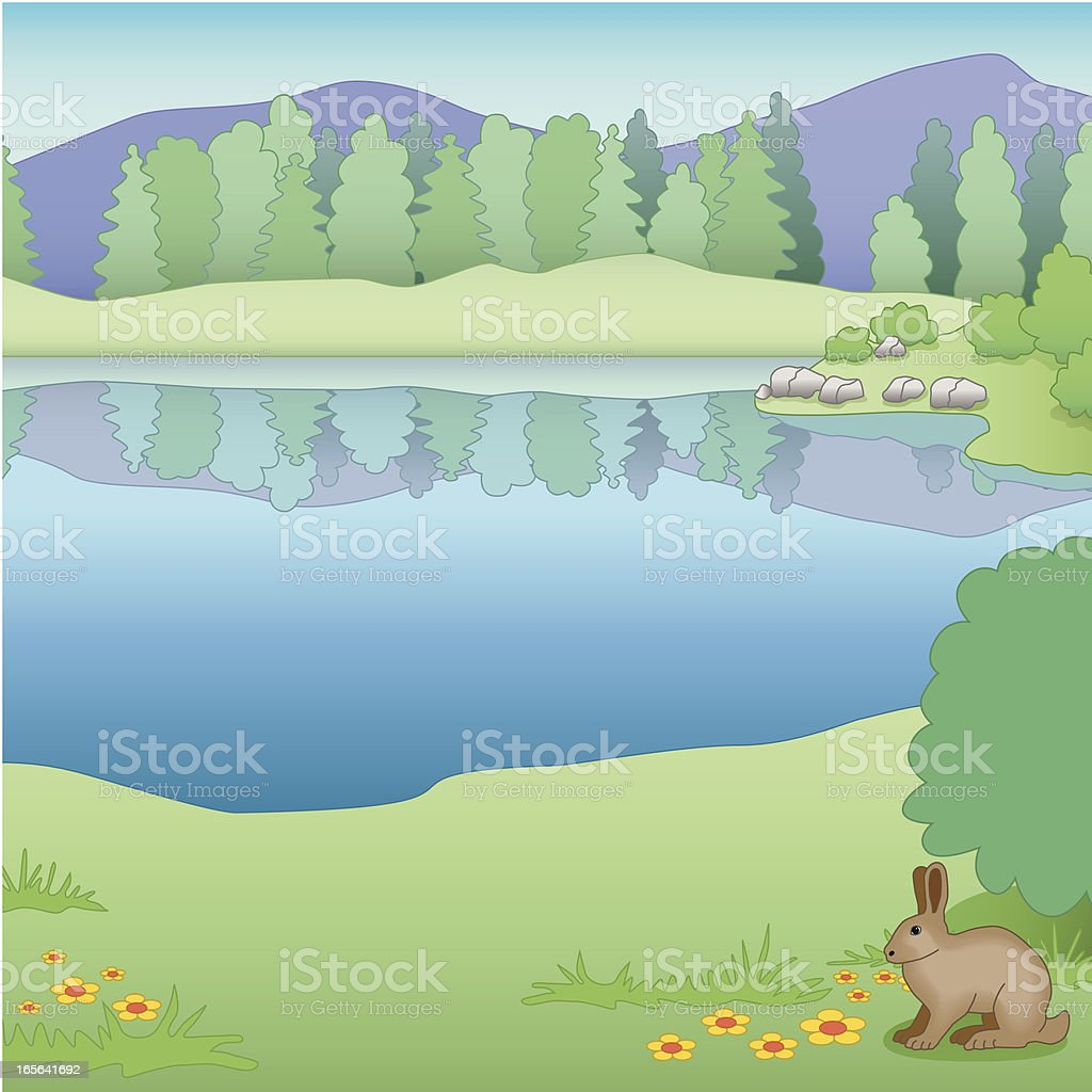 rabbit by a lake royalty-free stock vector art
