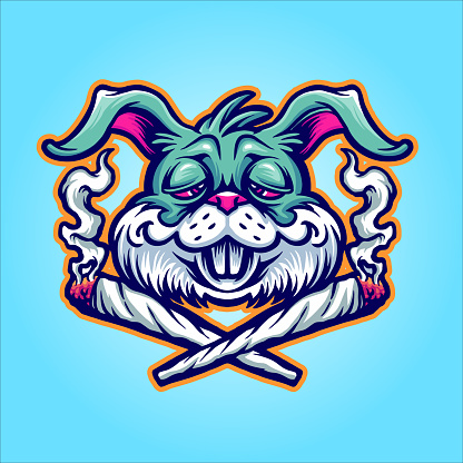 Rabbit Cannabis Joint Weed Smoke Graphic illustrations for your work Logo, mascot merchandise t-shirt, stickers and Label designs, poster, greeting cards advertising business company or brands.