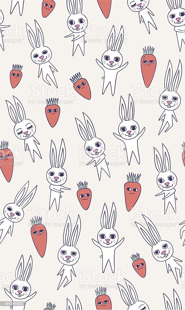 rabbit carrot seamless pattern royalty-free stock vector art