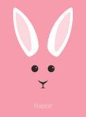 rabbit cartoon face, flat animal face icon, vector illustration