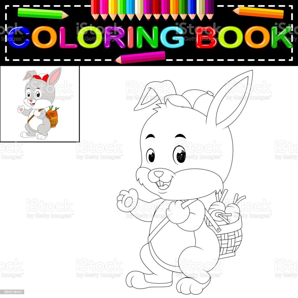 Tavşan Boyama Kitabı Stok Vektör Sanatı Anaokulunin Daha Fazla