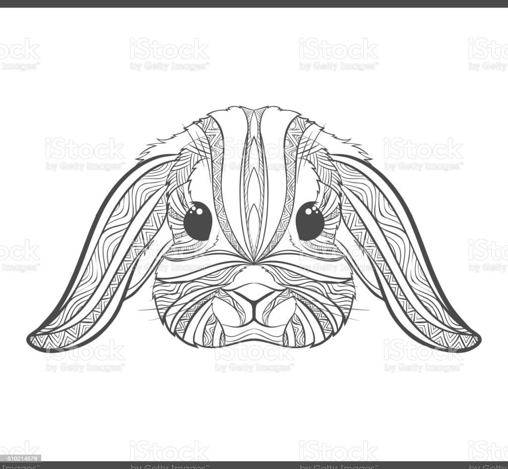 Rabbit coloring outlines in boho style. Ethnic hare vector art illustration
