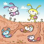 Cool Easter rabbits with eggs in burrows.