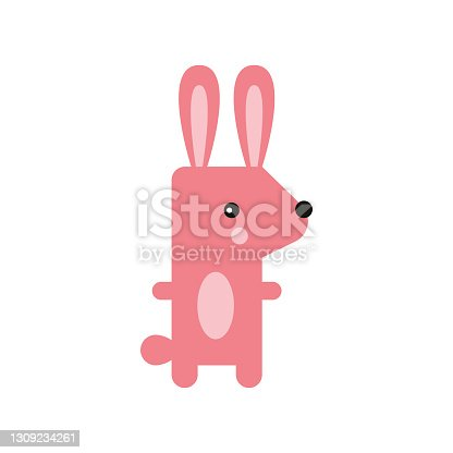 istock Rabbit cute doodle hand drawn flat vector illustration. Icon. Simple style for kids 1309234261