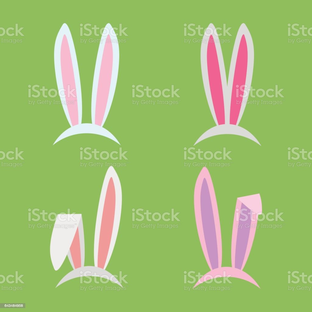 Rabbit ears collection for Easter. Set of masks in flat style isolated on white background. Vector, EPS10. vector art illustration