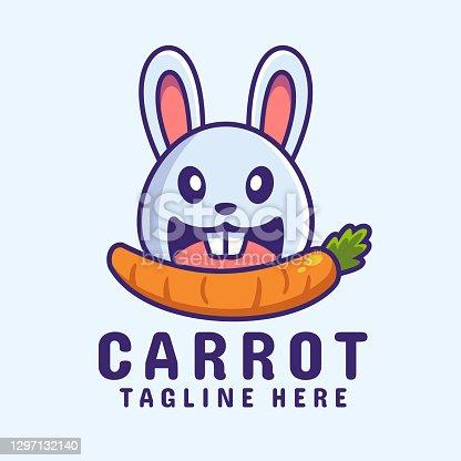 istock rabbit eating carrot cartoon logo design 1297132140