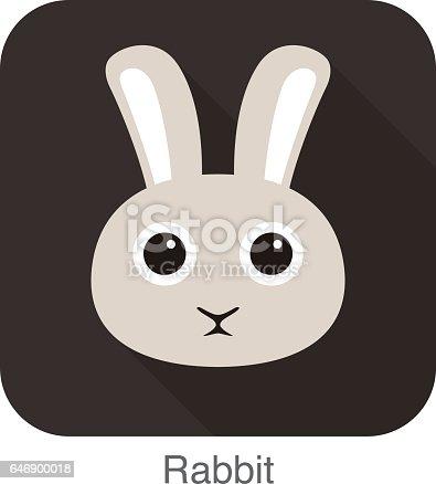 rabbit face flat icon, vector