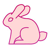 Rabbit flat icon. Sitting forest animal, simple silhouette. Animals vector design concept, gradient style pictogram on white background, graphic for web or app