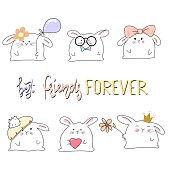 rabbit illustration for apparel. Best friends forever lettering