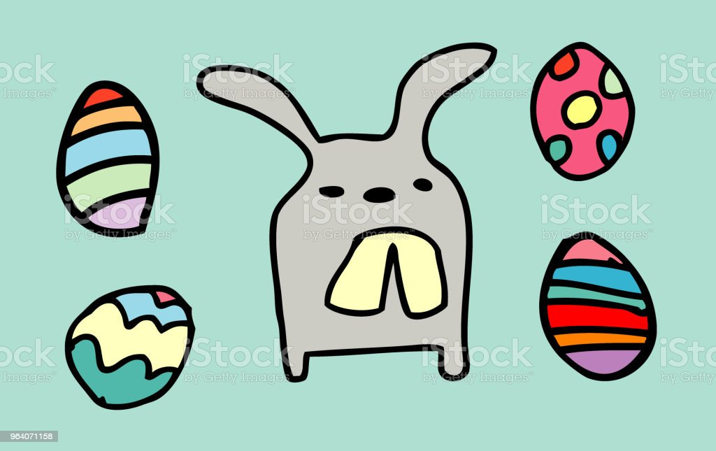 rabbit funny,happy Easter eggs isolated on background. vector illustration - Royalty-free Animal stock vector