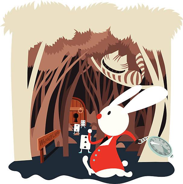 kaninchen hall im wonderland - kaninchenbau stock-grafiken, -clipart, -cartoons und -symbole