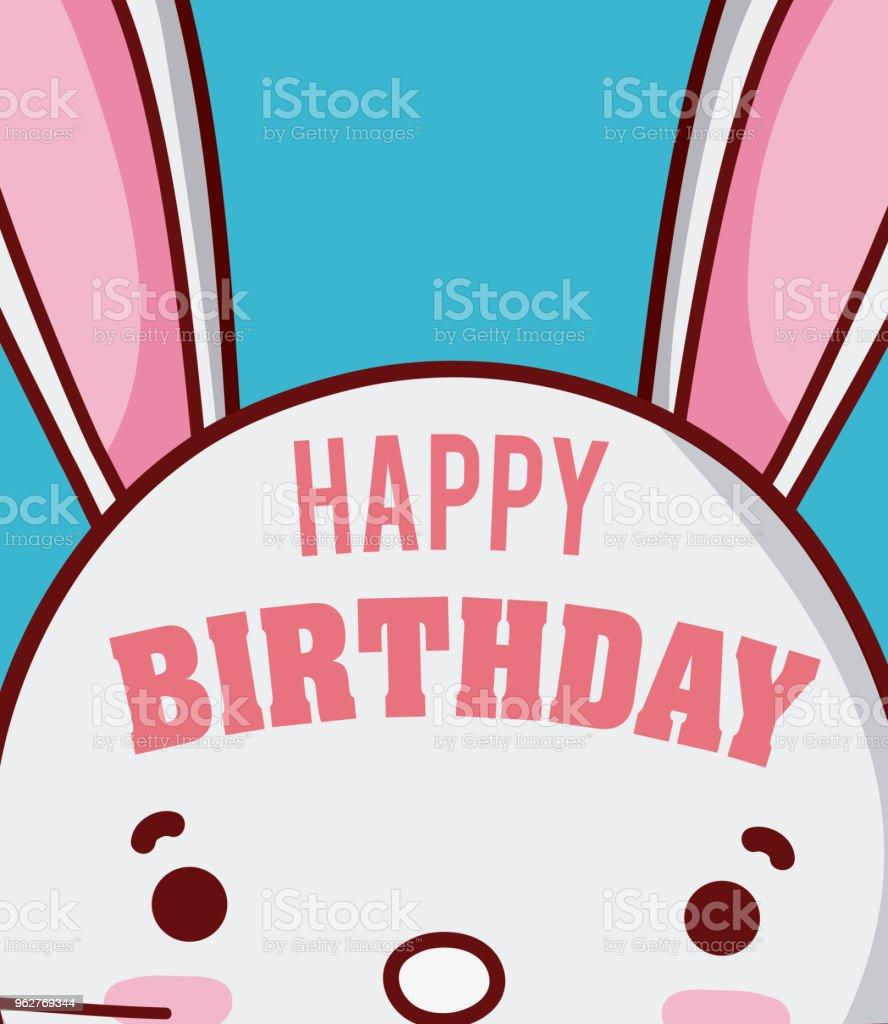 Rabbit happy birthday card - arte vettoriale royalty-free di Amore
