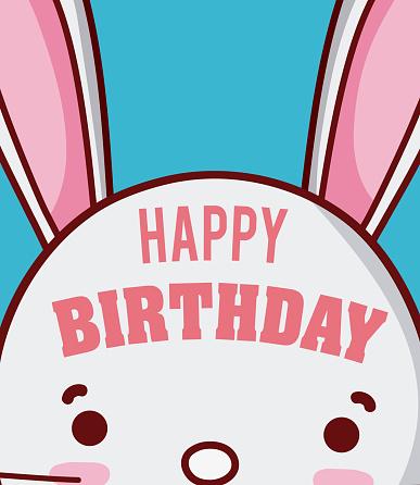 Rabbit Happy Birthday Card - Immagini vettoriali stock e altre immagini di Amore