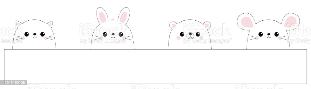 rabbit hare cat kitten kitty mouse bear face icon set black contour