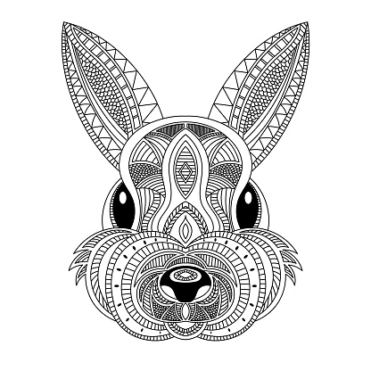 Rabbit head coloring book illustration. Black and white lines.