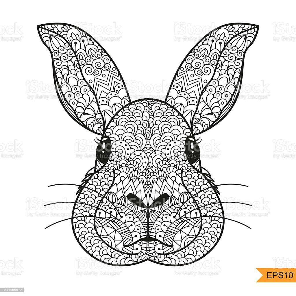 Conejo Cabezal Para Colorear Página Antiestrés Para Adultos - Arte ...