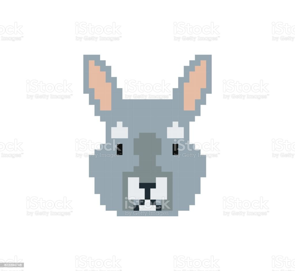 Rabbit Head In Pixel Art Style Made Of Small Colored Squares