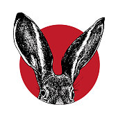 Rabbit head with big ears showing up in red circle. Good for stickers, tattoo design, prints on t-shirts, fabric bags, sweatshirts, rucksacks.