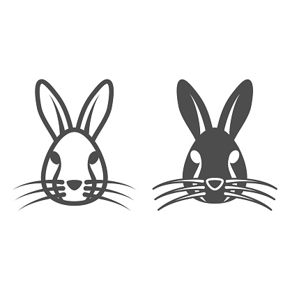 Rabbit head line and solid icon, animals concept, hare head sign on white background, bunny face silhouette icon in outline style for mobile concept and web design. Vector graphics.