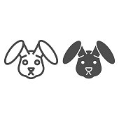 Rabbit head line and solid icon. Easter bunny, cute animal face simple silhouette. Animals vector design concept, outline style pictogram on white background, use for web and app. Eps 10