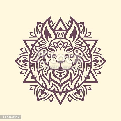 Rabbit head silhouette with Mandala tracery pattern in ethnic oriental style