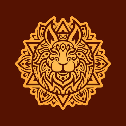 Rabbit head silhouette with pattern in ethnic oriental style