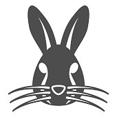 Rabbit head solid icon, animals concept, hare head sign on white background, bunny face silhouette icon in glyph style for mobile concept and web design. Vector graphics