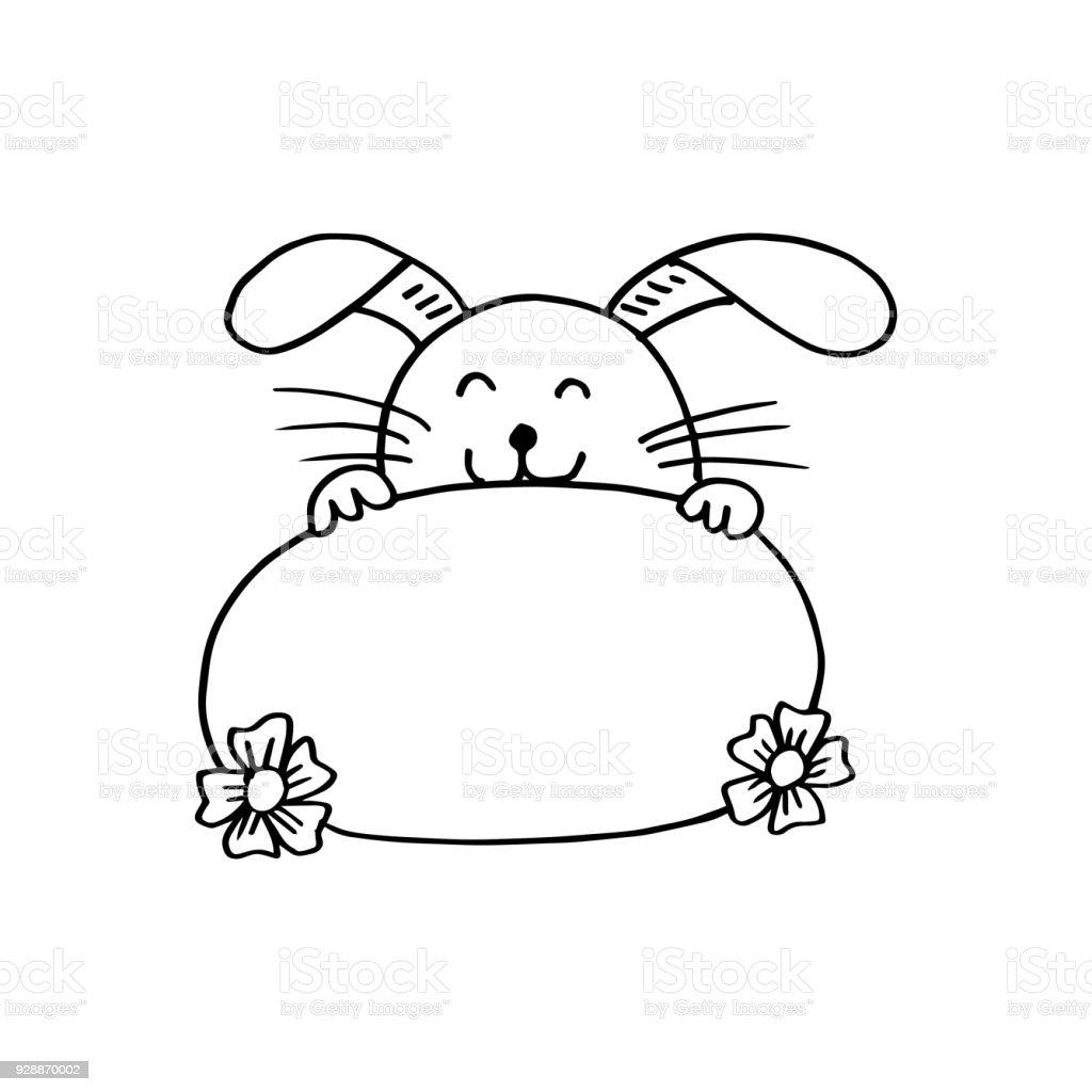 Kaninchen Halten Einen Banner Stock Vektor Art und mehr Bilder von ...