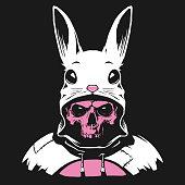 Rabbit hood with human skull in vector