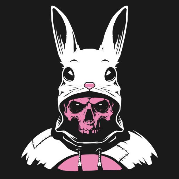 illustrations, cliparts, dessins animés et icônes de capuchon de lapin avec le crâne humain - monstres de bande dessinée