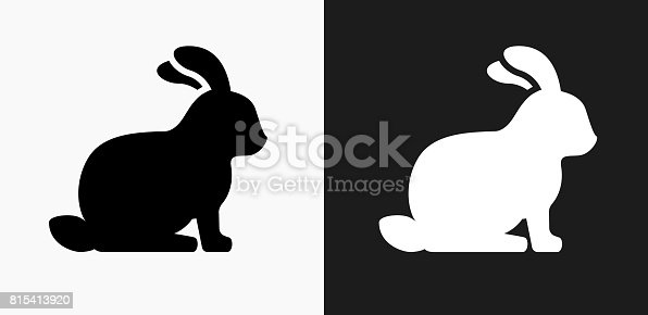 istock Rabbit Icon on Black and White Vector Backgrounds 815413920