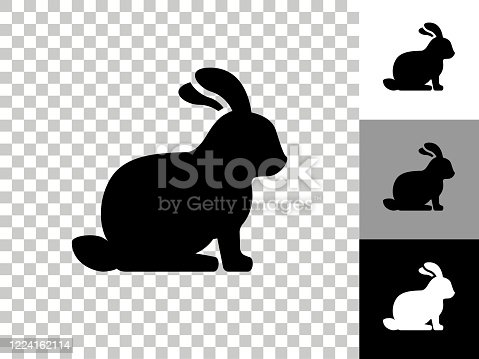 istock Rabbit Icon on Checkerboard Transparent Background 1224162114