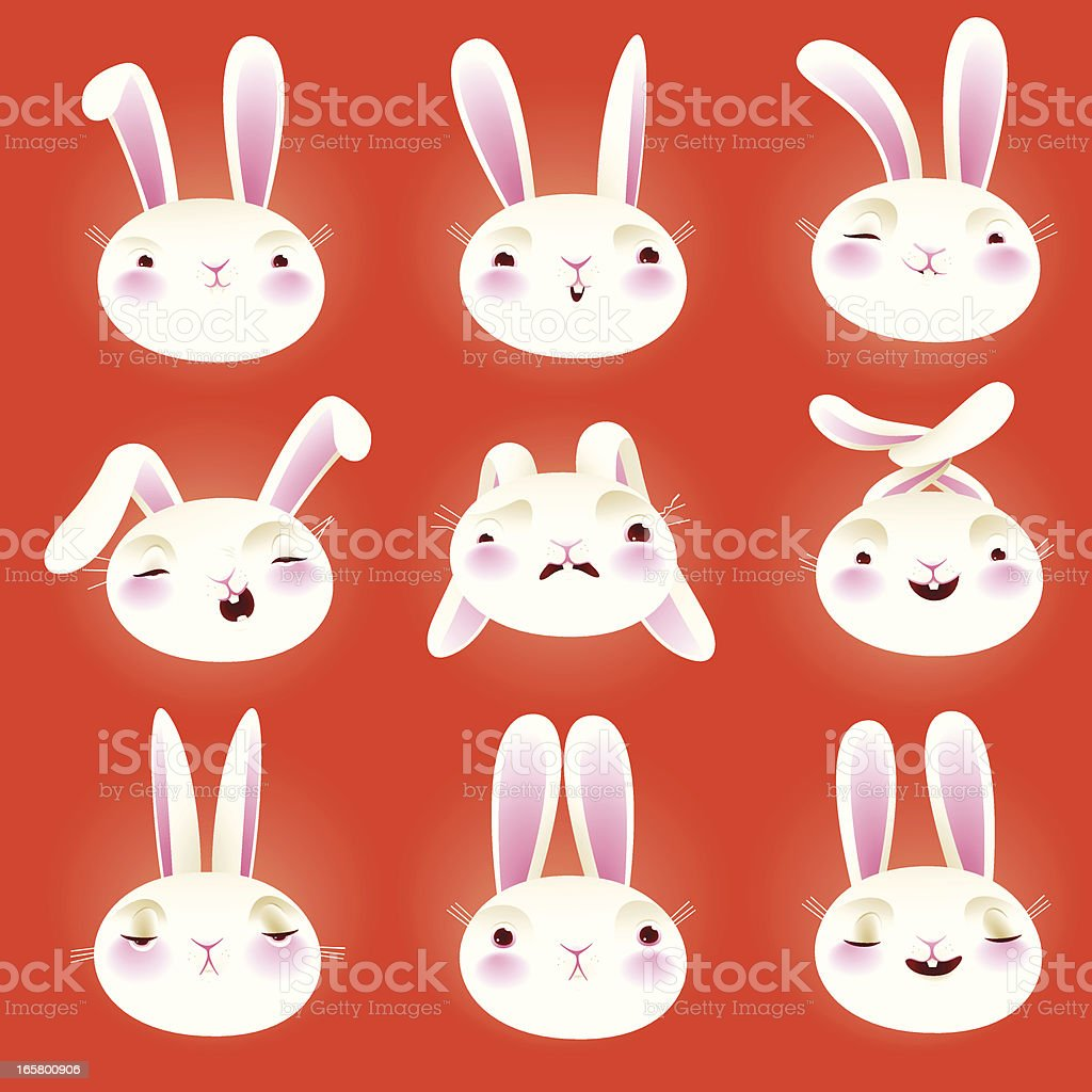 Rabbit Icon set EPS8 royalty-free rabbit icon set eps8 stock vector art & more images of animal