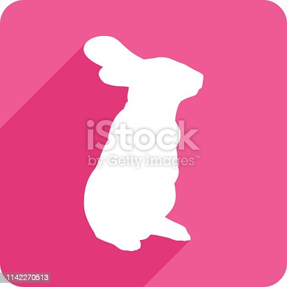 Vector illustration of a pink rabbit icon in flat style.